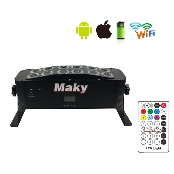 12x18W wireless dmx& IRC bar light with battery & Phone APP 6in1 leds